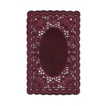 Burgundy Ornate Scrolled Dresden Foil Doily ~ 1