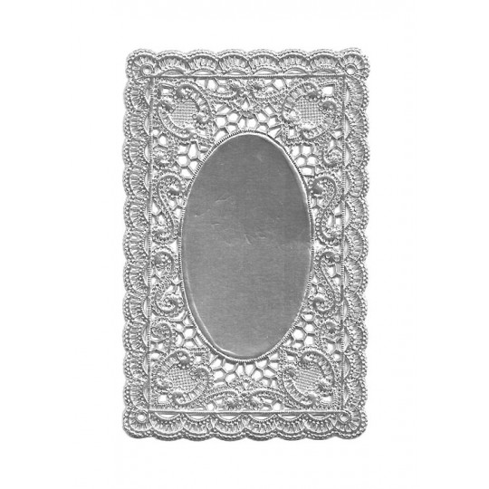 Silver Ornate Scrolled Dresden Foil Doily ~ 1
