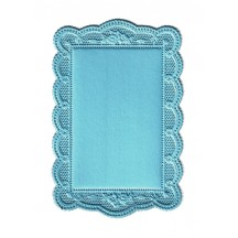 Light Blue Scalloped Daisy Dresden Foil Doily ~ 1