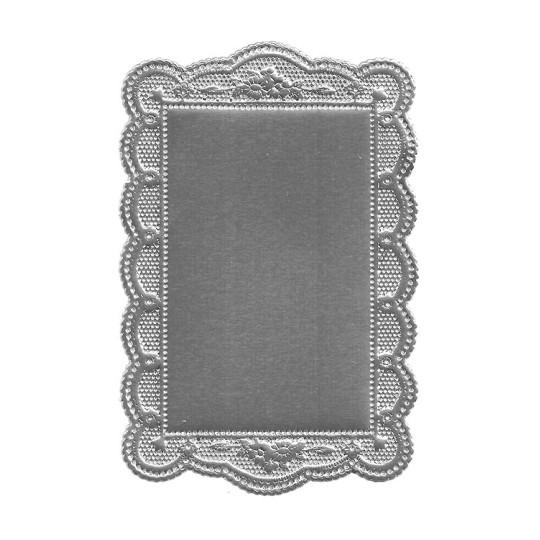 Silver Scalloped Daisy Dresden Foil Doily ~ 1