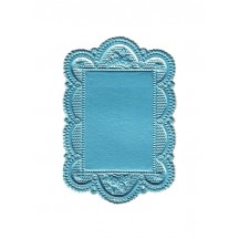 Small Light Blue Scalloped Rose Dresden Foil Doily ~ 1