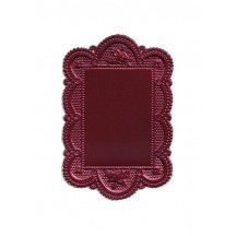 Small Burgundy Scalloped Rose Dresden Foil Doily ~ 1