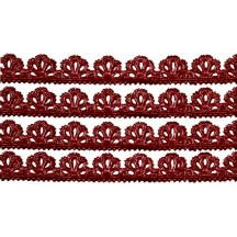 "Burgundy Dresden Scalloped Floral Trim ~ 3/8"" wide"