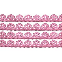 "Pink Dresden Scalloped Floral Trim ~ 3/8"" wide"