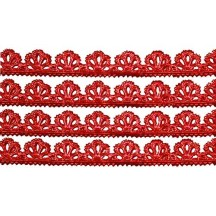 "Red Dresden Scalloped Floral Trim ~ 3/8"" wide"