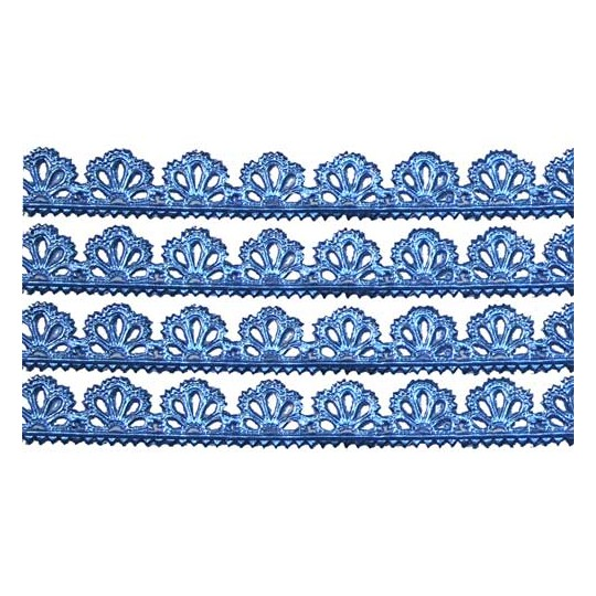 "Steel Blue Dresden Scalloped Floral Trim ~ 3/8"" wide"