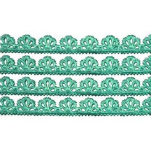 "Aqua Dresden Scalloped Floral Trim ~ 3/8"" wide"