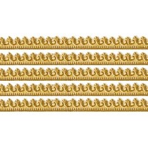 "Antique Gold Miniature Beaded Fleur de Lis Dresden Trim ~ 3/16"""