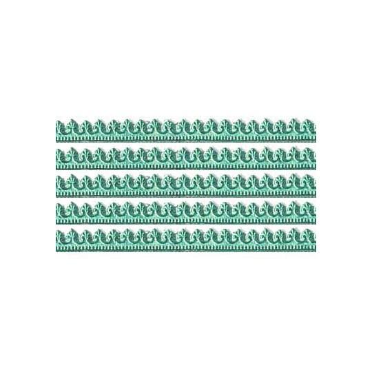 """Aqua Miniature Beaded Fleur de Lis Dresden Trim ~ 3/16"""""""