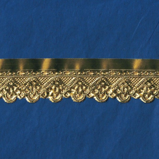 "Gold Paper Lace Dresden Floral Scalloped Trim ~ 1"" wide"