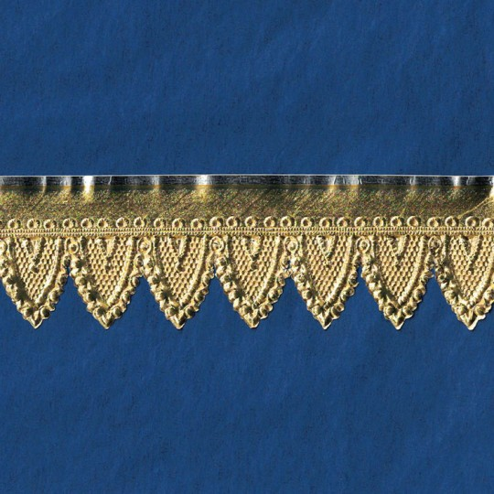 "Gold Paper Lace Dresden Gothic Scalloped Trim ~ 1-1/4"" wide"