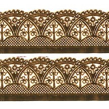 "Antique Gold Dresden Scalloped Arches Wide Trim ~ 1-1/8"" wide"