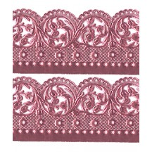 "Pink Dresden Scalloped Blossoms Wide Trim ~ 1-3/8"" wide"