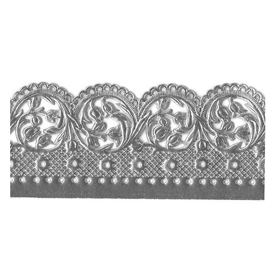 "Silver Dresden Scalloped Blossoms Wide Trim ~ 1-3/8"" wide"