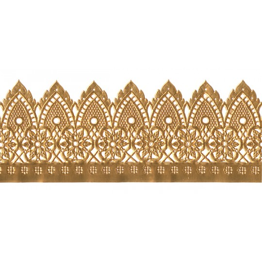 """Extra Wide Antique Gold Dresden Pennant and Flower Trim ~ 3-1/4"""" wide"""