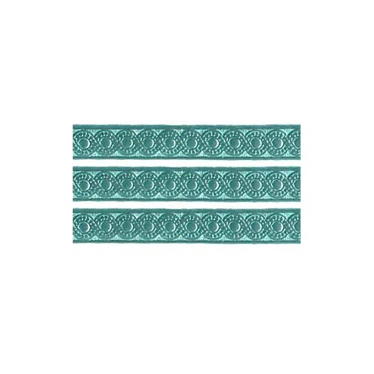 "Aqua Dresden Foil Scrolled Dot Trim ~ 5/16"" wide"