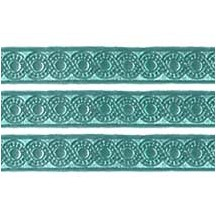 "Aqua Dresden Foil Scrolled Dot Trim ~ 5/16"" wide"