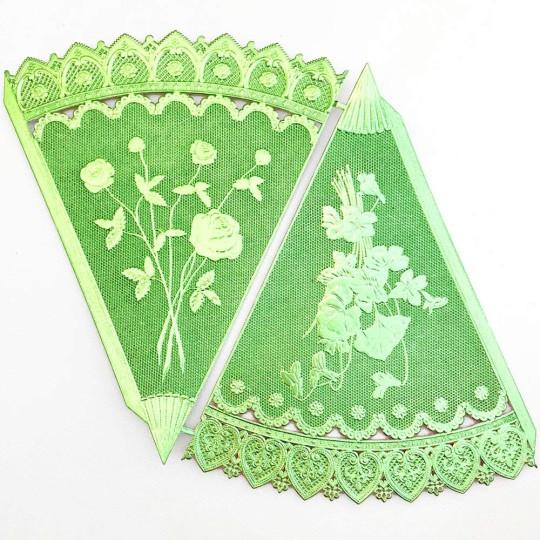 Light Green Dresden Foil Floral Cornucopia Cones ~ 2
