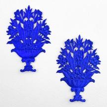 Fancy Dark Blue Dresden Foil Flower Baskets ~ 2