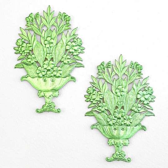 Fancy Light Green Dresden Foil Flower Baskets ~ 2