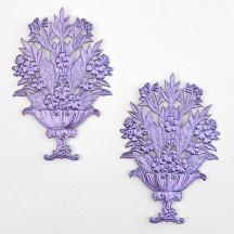 Fancy Light Purple Dresden Foil Flower Baskets ~ 2
