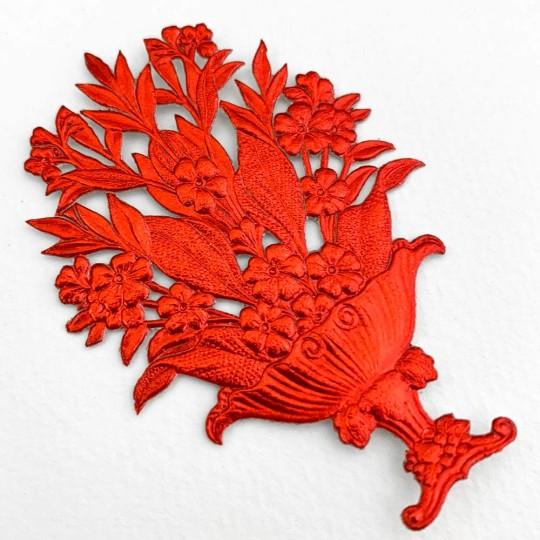 Fancy Red Dresden Foil Flower Baskets ~ 2