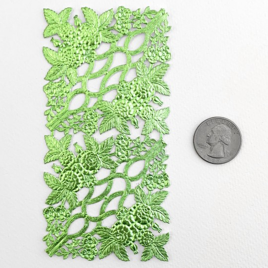 Extra Fancy Light Green Dresden Foil Corners with Roses and Flowers ~ 4