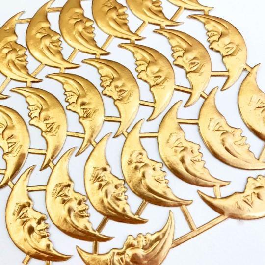 Antique Gold Dresden Foil Smiling Moons ~ 23