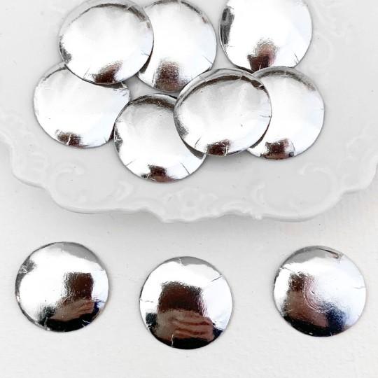 "Silver Dresden Foil Buttons ~ 3/4"" across ~ 10 pieces"