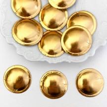 """Antique Gold Dresden Foil Buttons ~ 1-1/8"""" across ~ 10 pieces"""