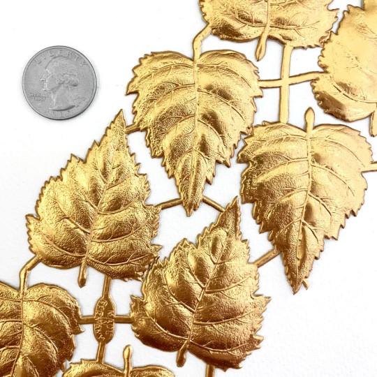 Antique Gold Dresden Foil Birch Leaves ~ 10