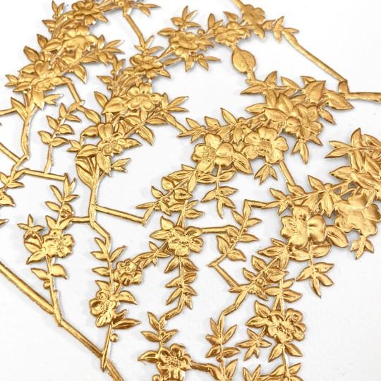 Fancy Antique Gold Dresden Foil Myrtle Branches and Sprigs ~ 12 Asst.