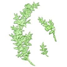 Fancy Light Green Dresden Foil Myrtle Branches and Sprigs ~ 12 Asst.
