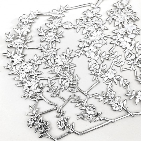 Fancy Silver Dresden Foil Myrtle Branches and Sprigs ~ 12 Asst.