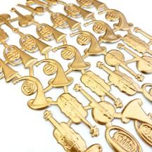 Mixed Antique Gold Dresden Foil Musical Instruments ~ 38