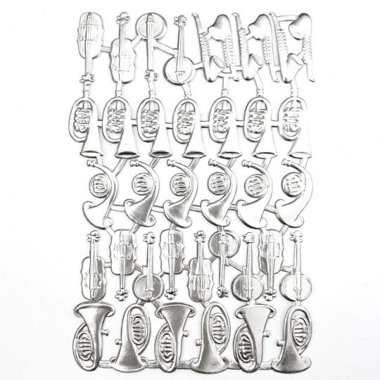 Mixed Silver Dresden Foil Musical Instruments ~ 38