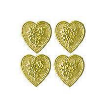 Gold Dresden Foil Floral Hearts ~ 20
