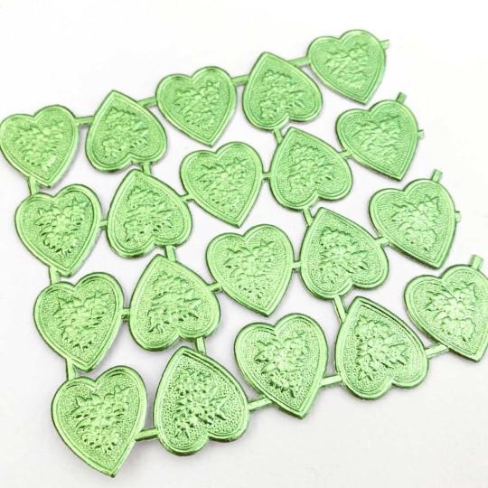 Light Green Dresden Foil Floral Hearts ~ 20