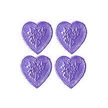 Light Purple Dresden Foil Floral Hearts ~ 20
