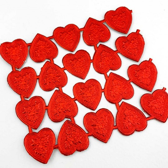 Red Dresden Foil Floral Hearts ~ 20