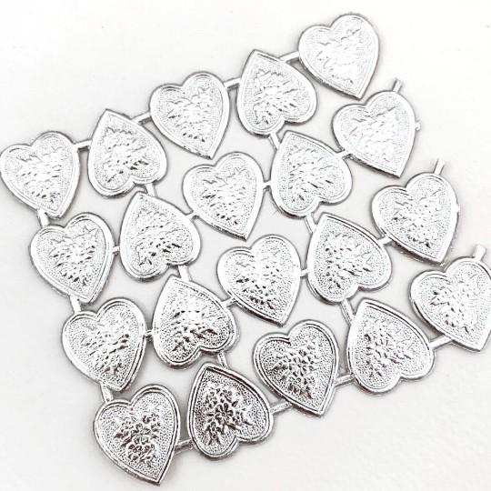 Silver Dresden Foil Floral Hearts ~ 20