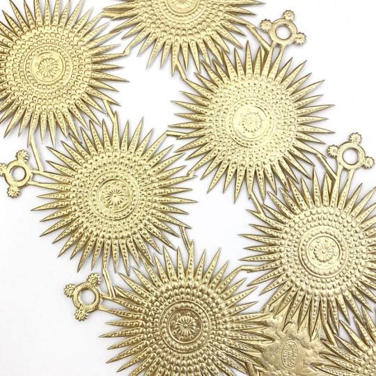 Large Gold Dresden Foil Fancy Filigree Star Ornaments ~ 8