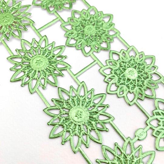 Light Green Dresden Foil Snowflakes or Halos ~ 8 Asst.