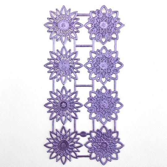 Light Purple Dresden Foil Snowflakes or Halos ~ 8 Asst.