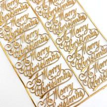Petite Antique Gold Merry Christmas Scripts ~ 12