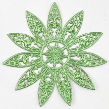 Large Fancy Filigree Light Green Foil Dresden Snowflakes or Halos ~ 2
