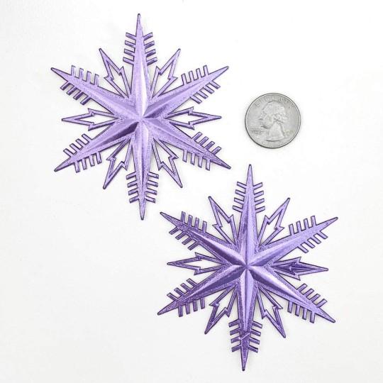 Classic Light Purple Dresden Foil Snowflakes ~ 2
