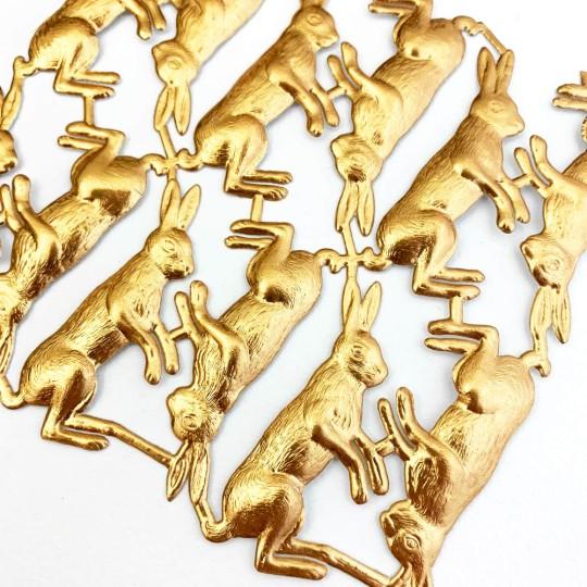 Antique Gold Dresden Foil Bunnies ~ 12
