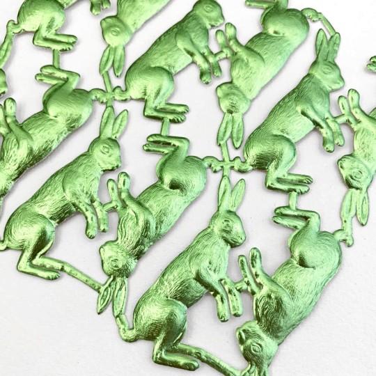 Light Green Dresden Foil Bunnies ~ 12