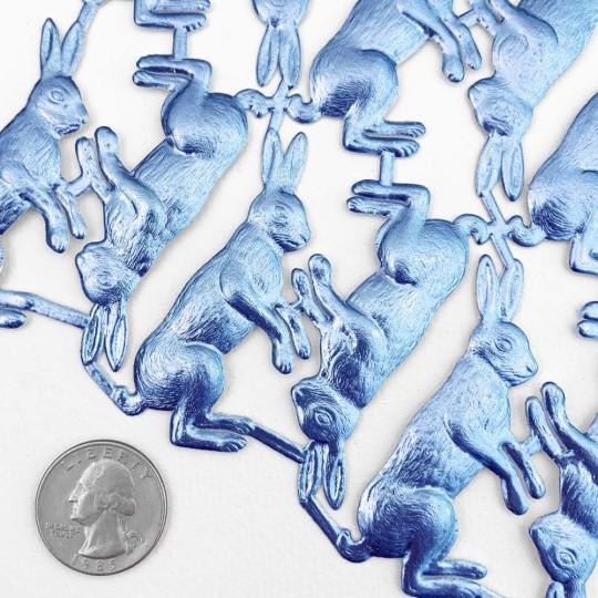 Steel Blue Dresden Foil Bunnies ~ 12